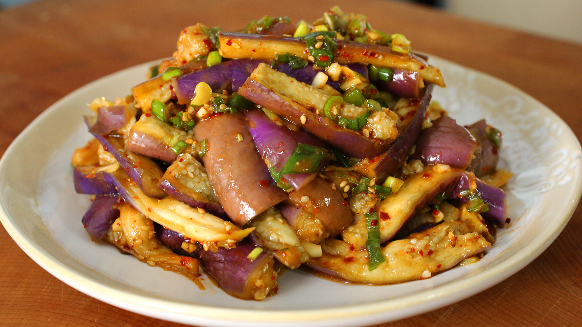 Eggplant side dish gaji namul recipe for What side dishes go with fish