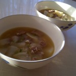 Radish soup with beef and barley rice