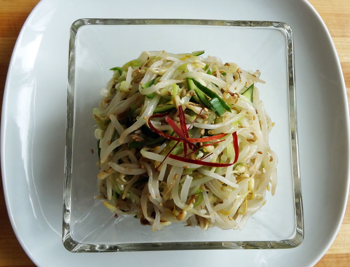 Mung bean sprout and cucumber side dish (Sukju-oi-namul) recipe ...