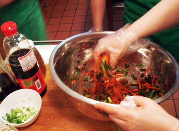 making kimchi paste
