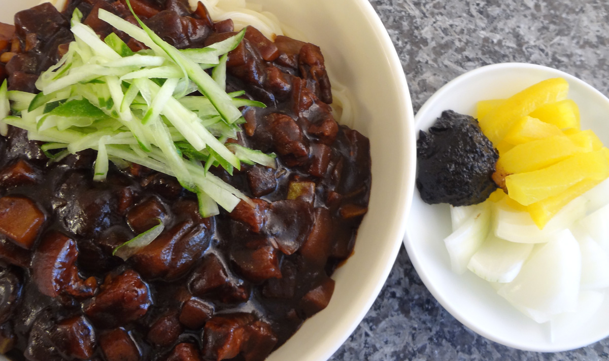 Jjajangmyeon noodles in blackbean sauce recipe maangchi posted forumfinder Choice Image