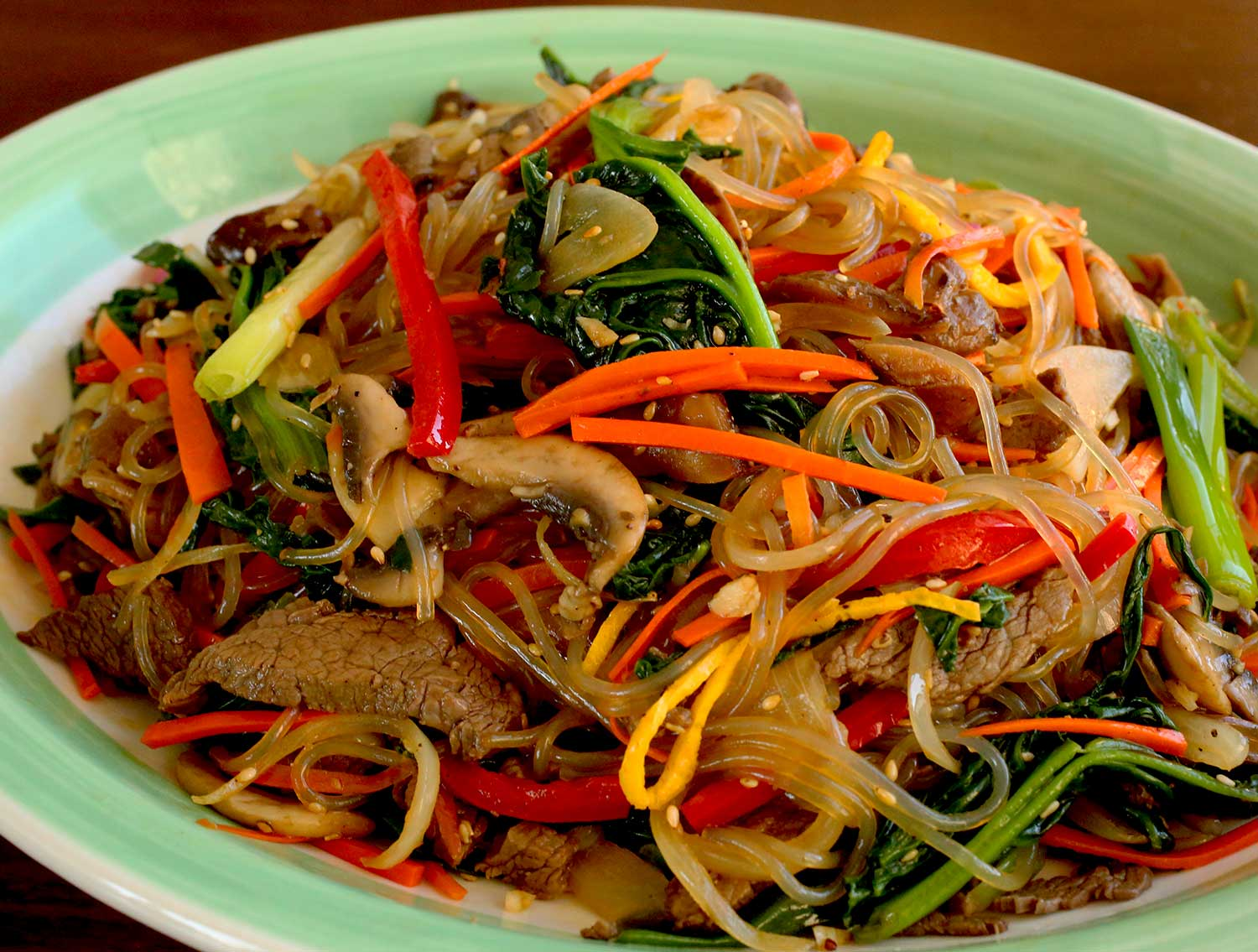 Japchae (Sweet potato starch noodles stir fried with vegetables ...