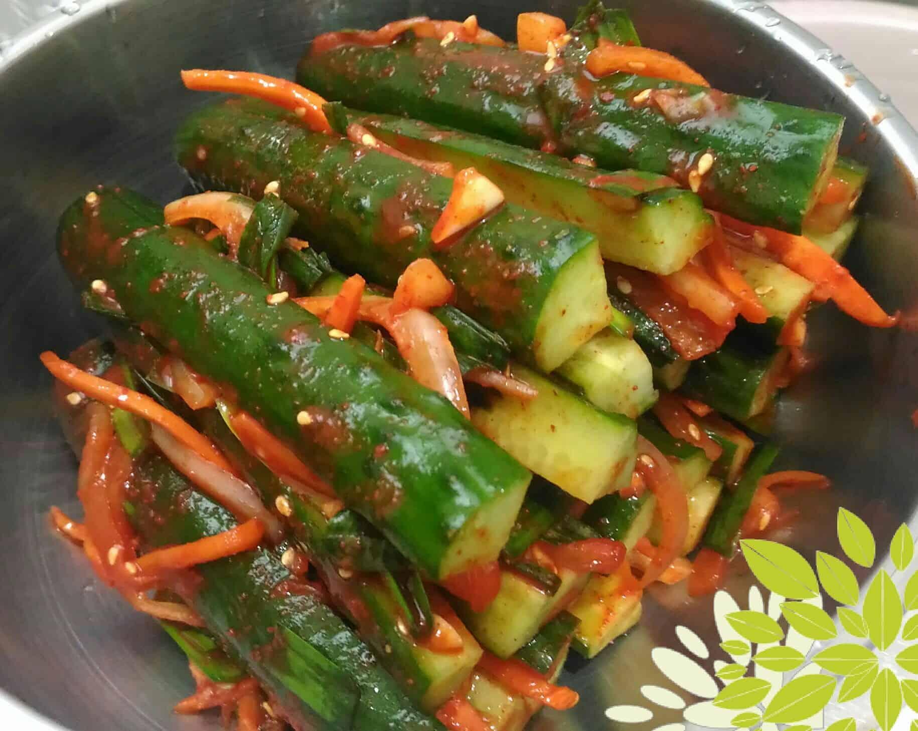 Spicy stuffed cucumber kimchi (Oi-sobagi) recipe