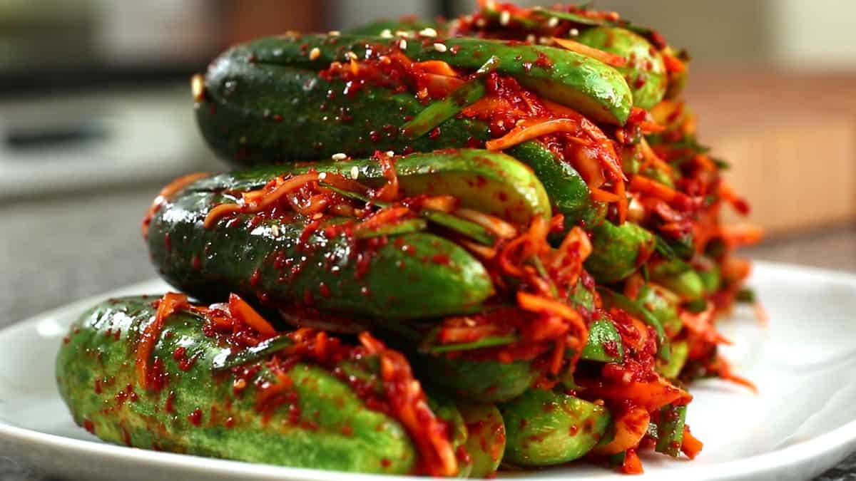 Spicy Stuffed Cucumber Kimchi Oi Sobagi Recipe Maangchi Com