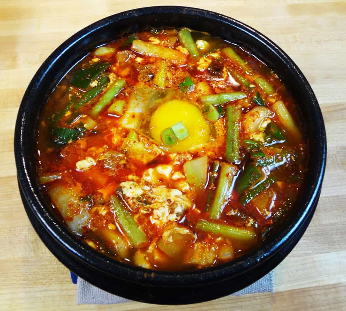 Haemul Sundubu Jjigae Spicy Soft Tofu Stew With Seafood Recipe Maangchi Com