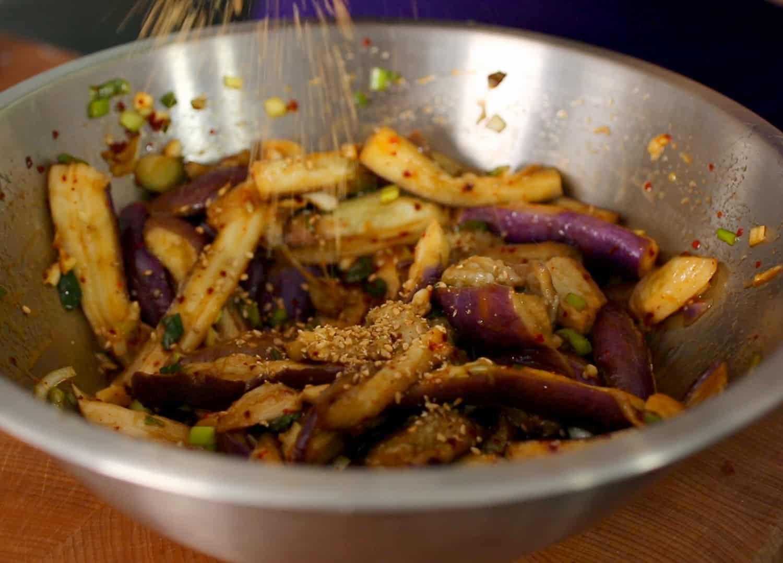 Eggplant side dish gaji namul recipe maangchi steamedeggplant gaji namul forumfinder Gallery