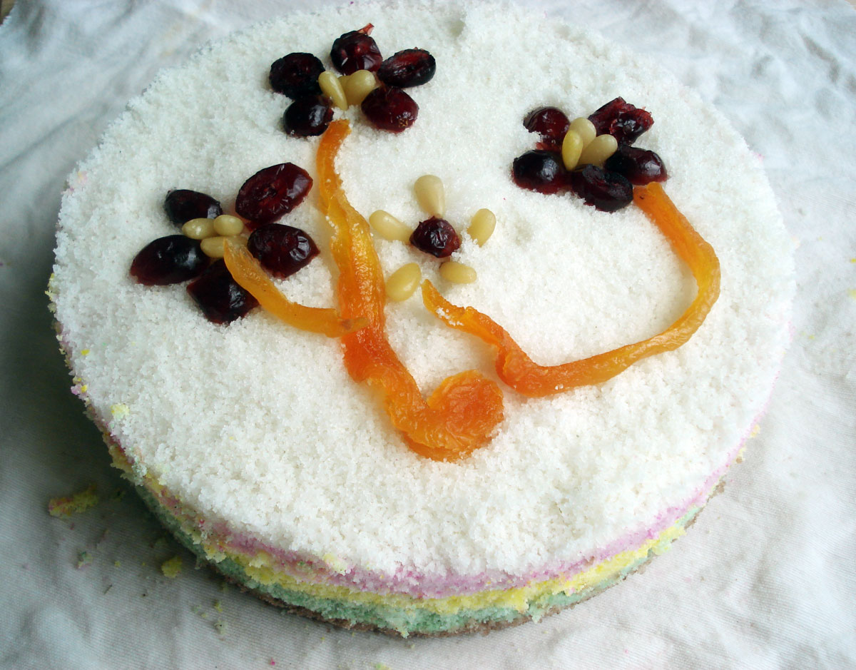 Cake Recipes In Pictures: Rainbow Rice Cake (Mujigae-tteok) Recipe