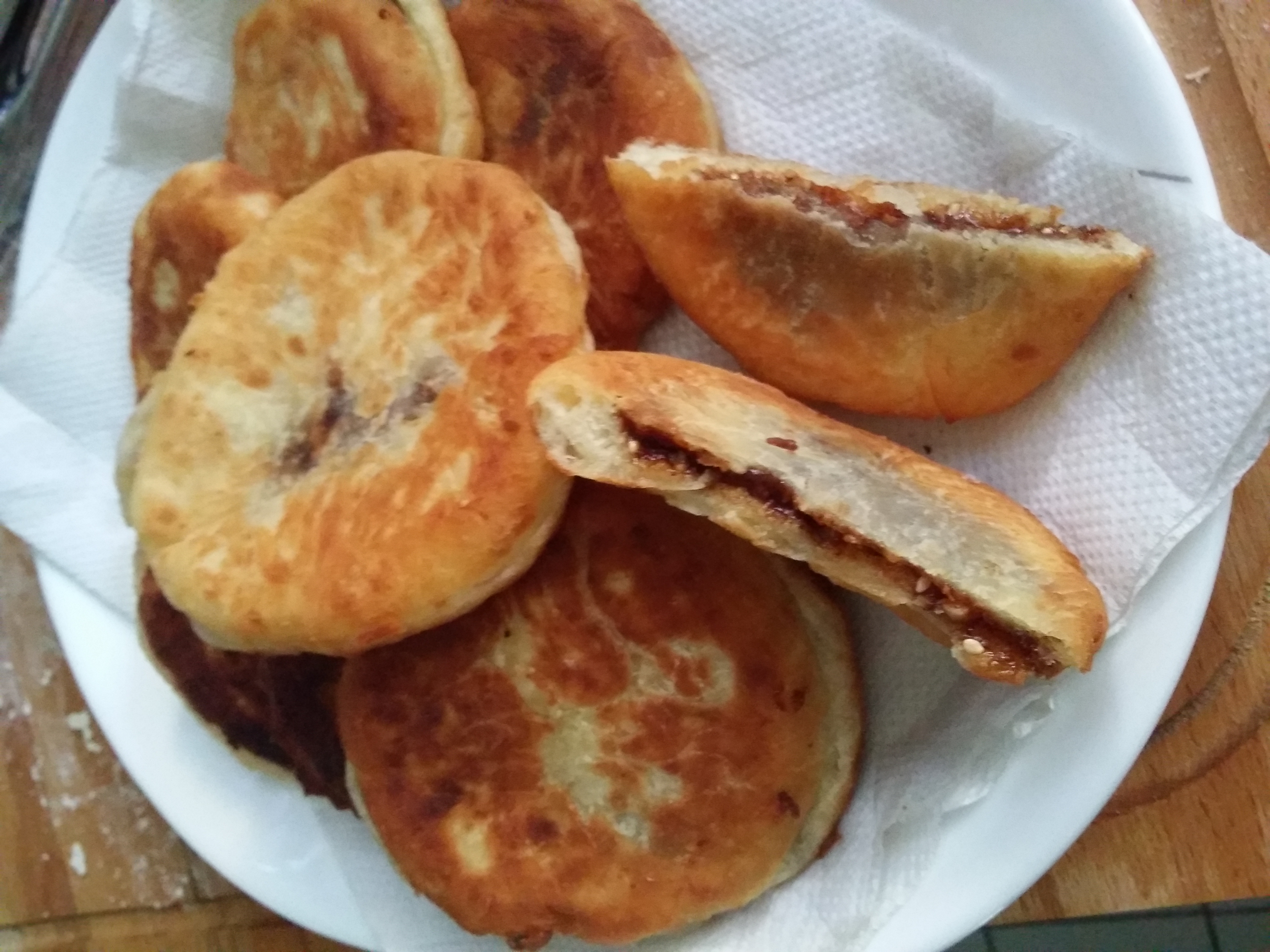 Sweet pancakes with brown sugar syrup filling (Hotteok ...