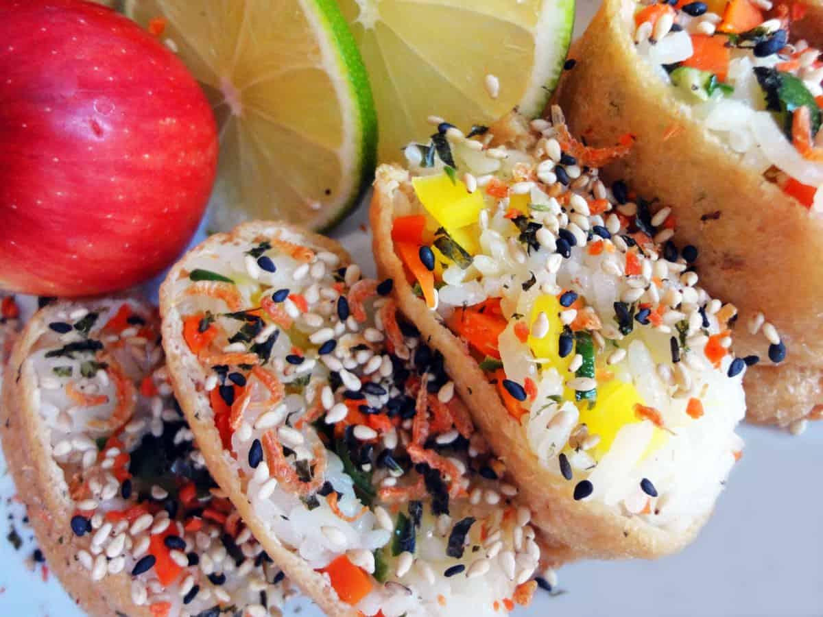 Seasoned tofu pockets stuffed with rice (Yubuchobap) recipe - Maangchi ...