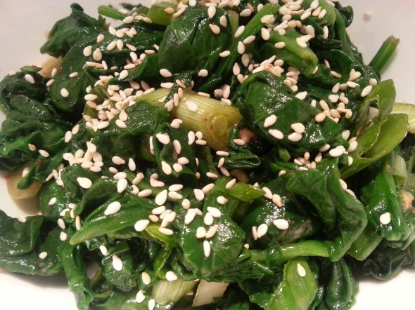 Sigeumchi namul (Spinach side dish)