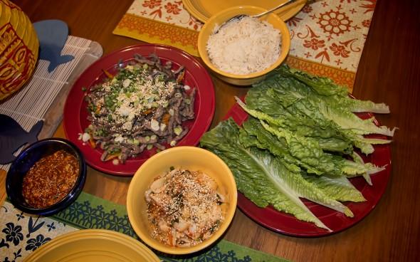 Beef Bulgogi with Ssamjang and Traditional Kimchi