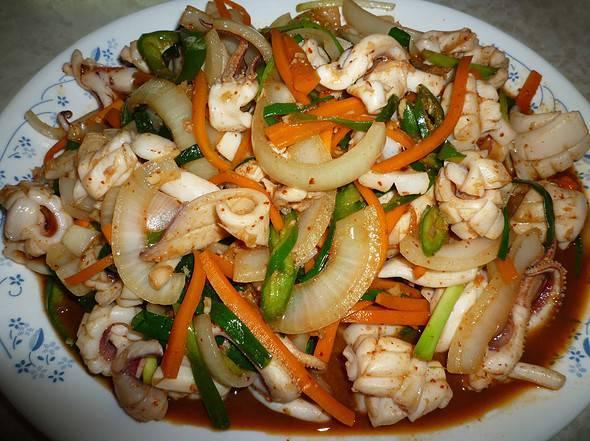 Spicy stir fried squid