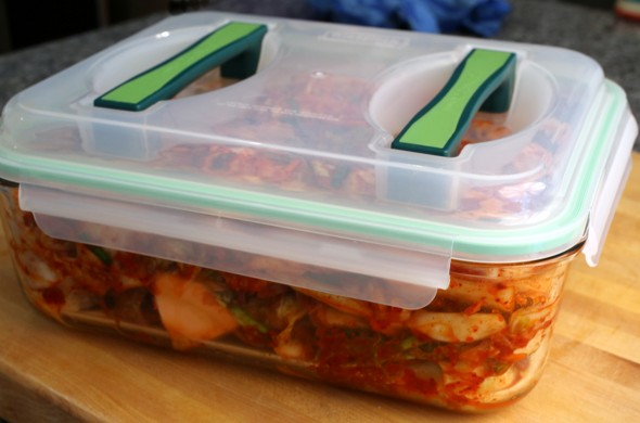kimchi in container