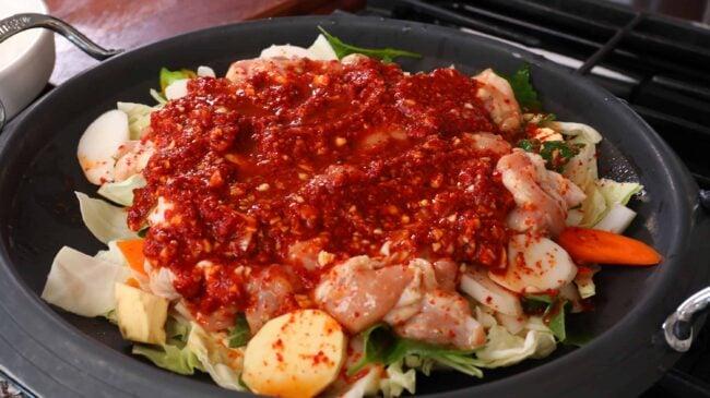 Korean spicy stir-fried chicken and vegetables