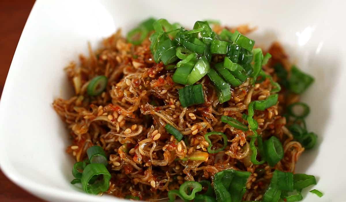 Seasoned Dried Anchovies Myeolchi Muchim Recipe