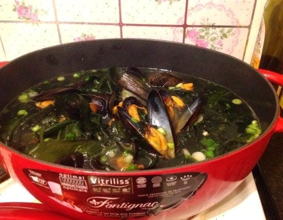 honghap-miyeokguk (Seaweed soup with mussels: 홍합미역국)