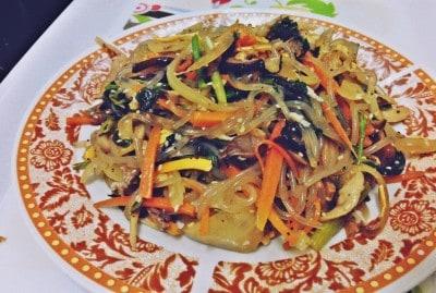 japchae (Korean stir-fried glass noodles with vegetables)