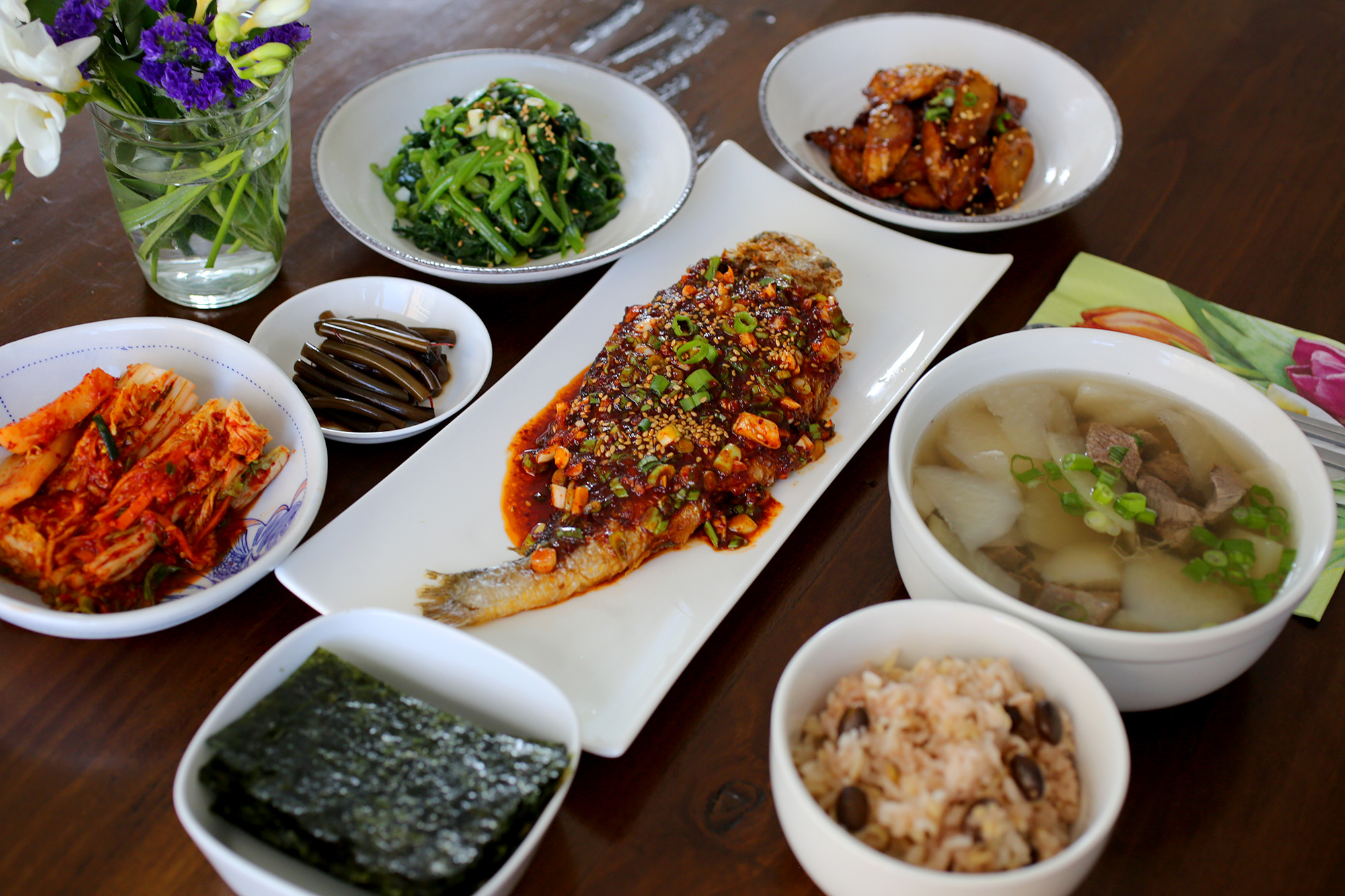 A typical korean homestyle table setting for Table cuisine