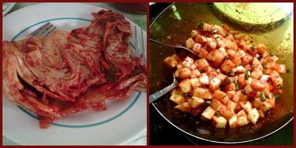 napa cabbage kimchi ang radish kimchi. :)