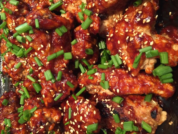 Spicy Korean fried chicken, japchae