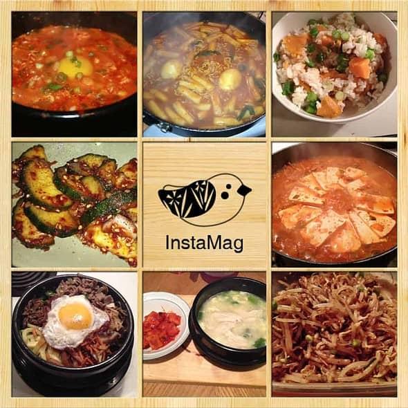 Kimchi jigae , kimchi sundubu jigae, cucumber side dish, soybean sprouts side dish, bibimbap, goguma-bap, Tteokbokki and chicken porridge