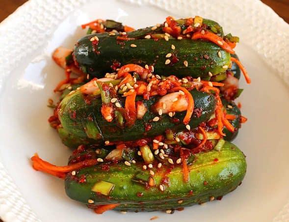 Stuffed cucumber kimchi (oisobagi: 오이소박이)