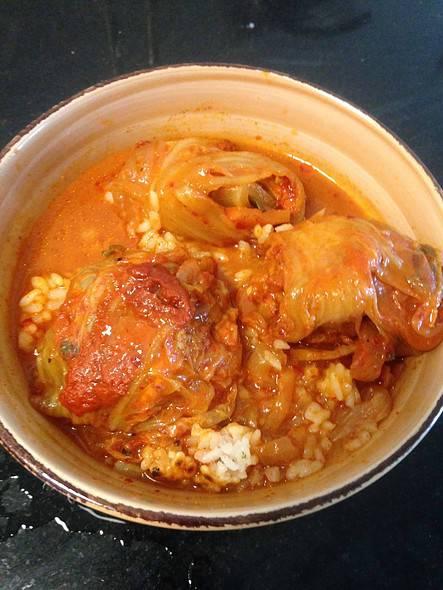 Braised kimchi & pork (using homemade kimchi).
