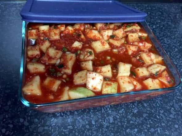 kkakdugi (Korean diced radish kimchi: 깍두기)