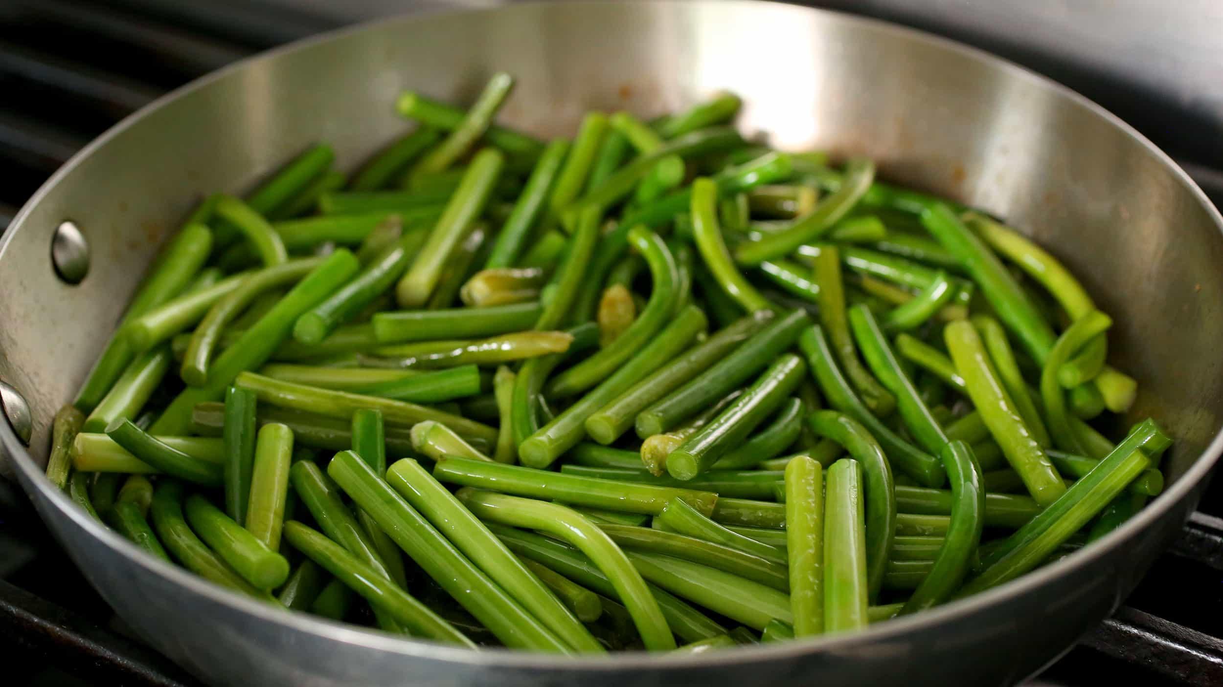 Stir Fried Garlic Scapes Maneuljjong Bokkeum