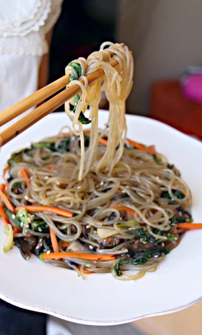 korean food photo  vegan korean glass noodles  japchae