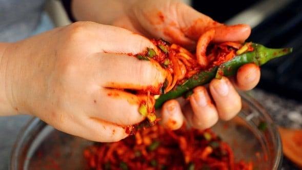 Spicy stuffed green chili pepper kimchi (Gochu-sobagi: 고추소박이)