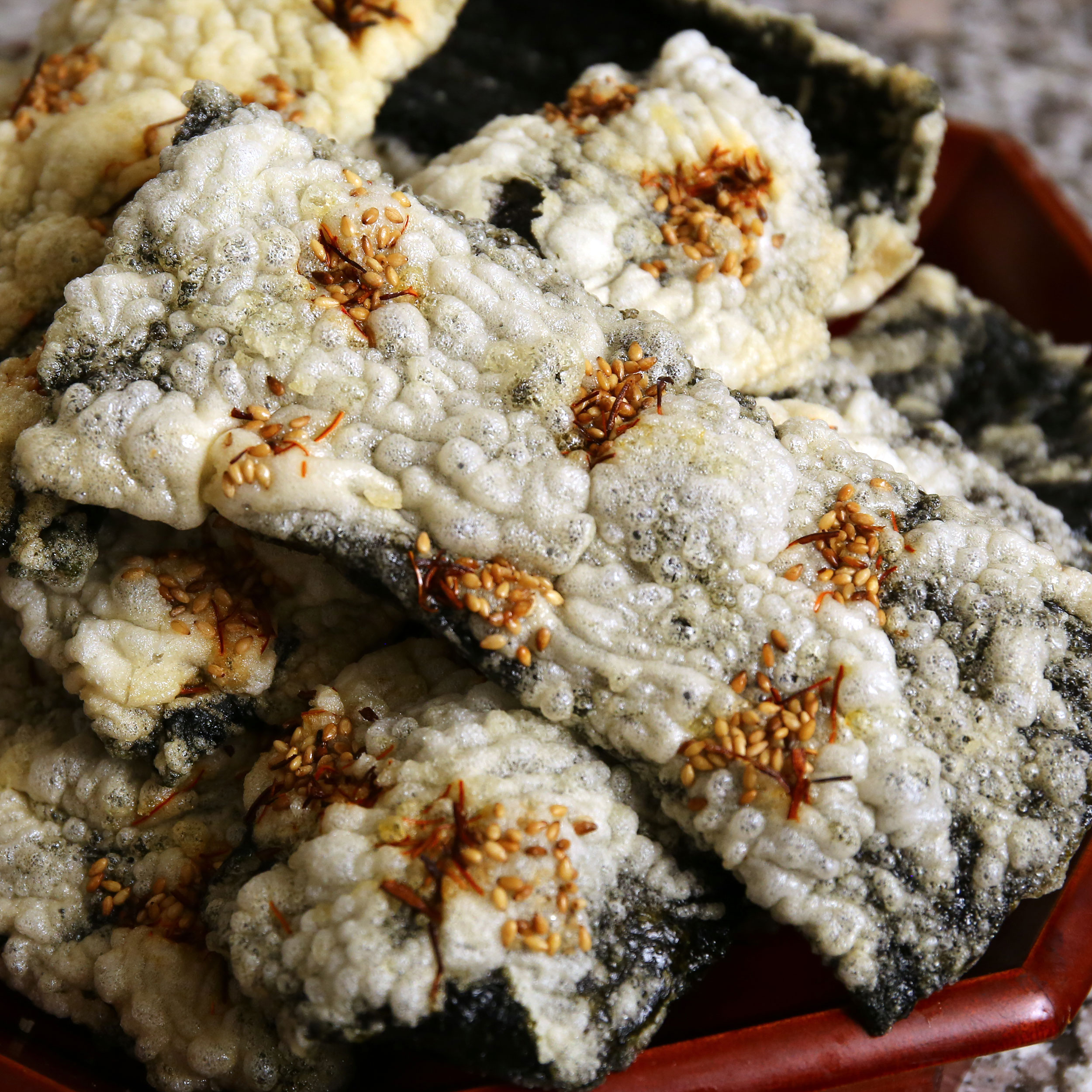 Fried seaweed paper coated with glutinous rice paste gim bugak ingredients ccuart Gallery