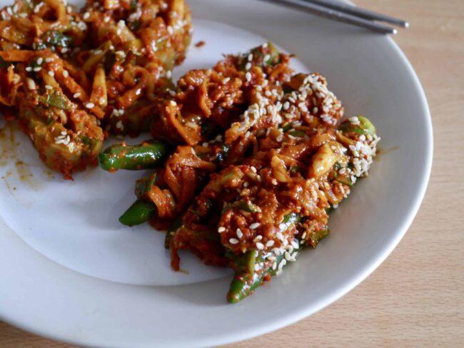 Green chili pepper and bitter melon kimchi