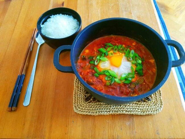 Vegetarian Kimchi Sundubu-Jjigae