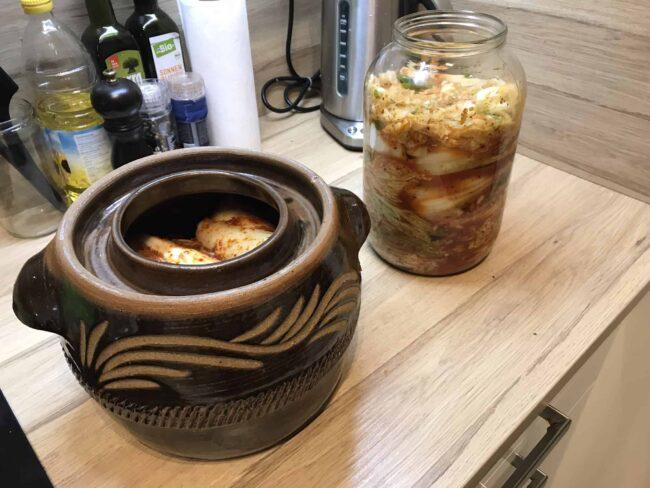 kimchi in sauerkraut crock
