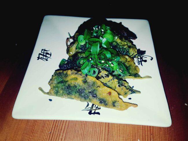 Vegan Kkaenip-jeon (Perilla Leaves Pancakes)