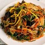 Japchae (Korean stir-fried noodles, beef, and vegetables (잡채)