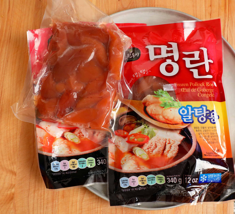 frozen pollock roe (myeongnan: 명란)