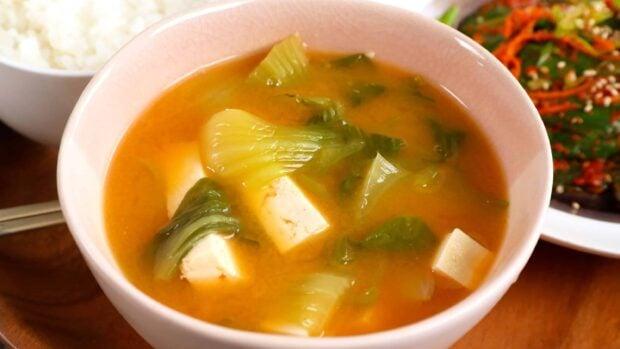 bok choy tofu doenjang soup