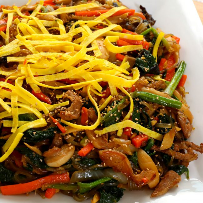 japchae (Korean stir-fried noodles with vegetables, meat, and mushrooms) 잡채