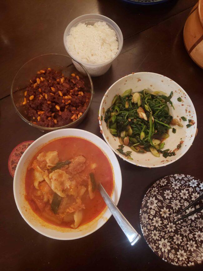 Kimchi hand-torn noodle soup in Quarantine