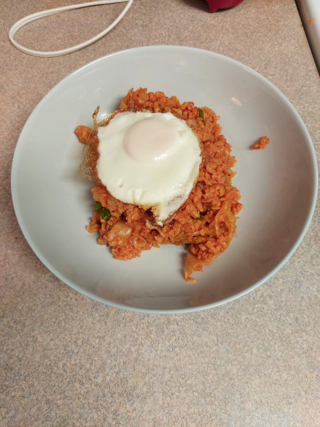Kimchi fried rice made with my own homemade kimchi!