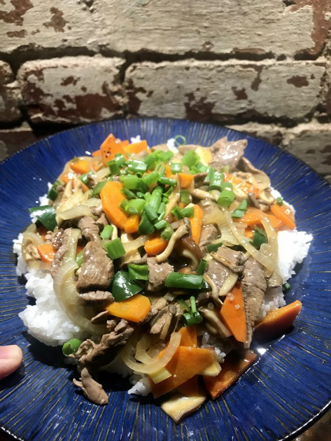 Beef and mushrooms stir-fried over rice!