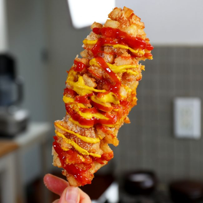 Korean-style french fries corn dog (Gamja-hotdog: 감자핫도그)