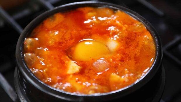 sundubu jjigae (Korean spicy soft tofu stew)