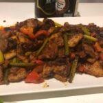 Spicy stir-fried pork (Dwaejigogi-bokkeum 돼지고기볶음)