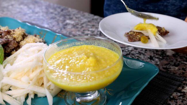 eating sogogi chapssal-gui