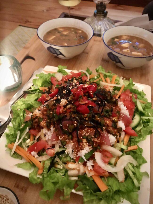 Korean night with raw fish bibimbap and doenjang jjigae!